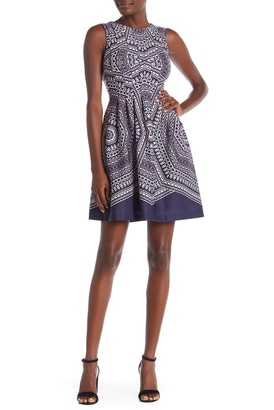 Vince Camuto Printed Scuba Sleeveless Dress