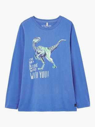 Joules Little Joule Boys' Raymond Glow-In-The-Dark Dinosaur T-Shirt, Blue