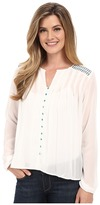 Cruel Long Sleeve Button Front Peasant Blouse