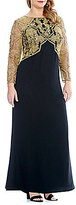 Tadashi Shoji Plus Long Sleeve Gold Corded Lace and Crepe Gown