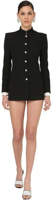 Alessandra Rich Mandarin Collar Cool Wool Button Jacket