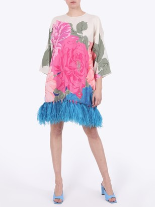 Valentino Floral Feather Trim Dress