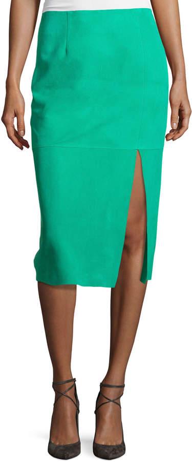 Diane von Furstenberg Suede Side-Slit Pencil Skirt, Blue