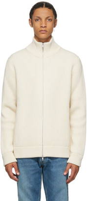 Maison Margiela Off-White Wool Cardigan Stitch Zip Up Sweater