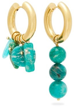 Timeless Pearly Mismatched Amazonite And Gold-plated Earrings - Womens - Blue