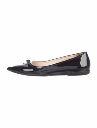 Prada Patent Leather Bow Accents Ballet Flats Black