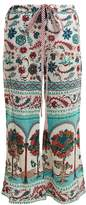 LE SIRENUSE, POSITANO Viola garden-print wide-leg cotton trousers