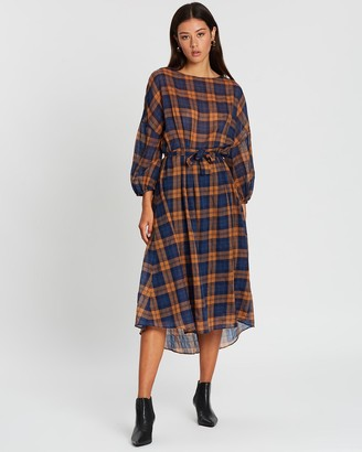 Apartment Clothing Check Full Sleeve Midi Dress