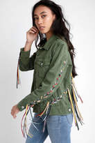 Blank NYC Olive Jacket With Ribbon Detail