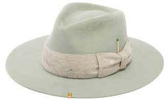 Nick Fouquet Santa Lucia Paint-splatter Bow Felt Fedora Hat - Mens - Green