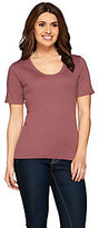 As Is Liz Claiborne New York Essentials Rounded V-Neck Cotton T-Shirt