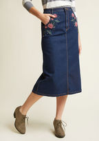 ModCloth Sweet to Meet You Denim Midi Skirt in S