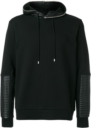 Les Hommes quilted detail hoodie
