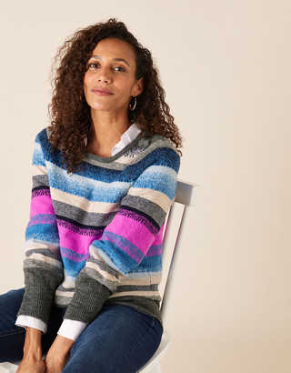 Monsoon Button Shoulder Stripe Knit Jumper Blue