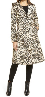 Via Spiga Water Resistant Animal Print Packable Trench Coat with Removable Hood