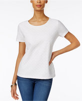 Karen Scott Petite Cotton Lace Top, Only at Macy's