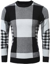 uxcell® Men Crewneck Allover Plaids Pattern Long Sleeves Knitted Sweater S