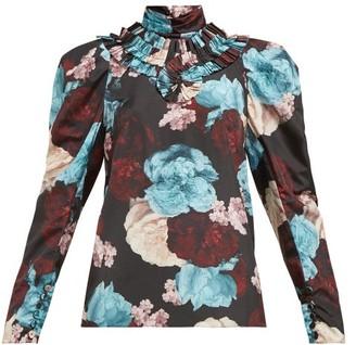 Erdem Lilia Floral-print Taffeta Blouse - Womens - Blue Multi