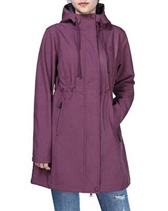 Outdoor Ventures Women's Lightweight Softshell Jakcet with Hood Windbreaker Fleece Lined Long Warm Up Waterproof Coat