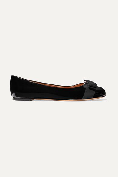 Salvatore Ferragamo Varina Bow-embellished Patent-leather Ballet Flats