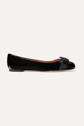 Salvatore Ferragamo Varina Bow-embellished Patent-leather Ballet Flats - Black