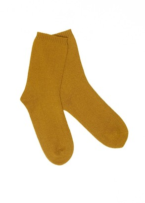 Arela Ulla Cashmere Lounge Socks In Yellow