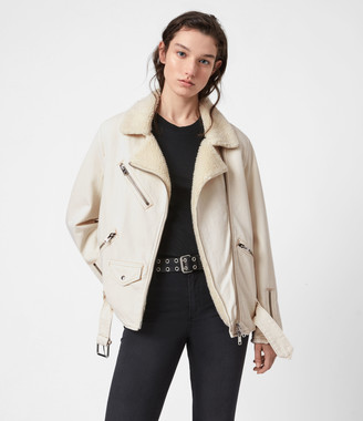 AllSaints Oversized Sherpa-Lined Denim Biker Jacket