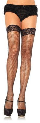 Leg Avenue Women's Plus Size Lycra Stay-Up Fishnet With Lace Top, Black, One Size