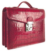 L.a.p.a. Cherry Croco-embossed Double Gusset Compact Briefcase