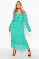 boohoo Plus Dobby Mesh Ruffle Midi Dress