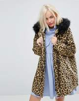 Lazy Oaf Oversized Parka Jacket In Purrfect Leopard Print