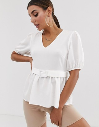 Asos Design DESIGN short sleeve v neck tea blouse with buckle detail