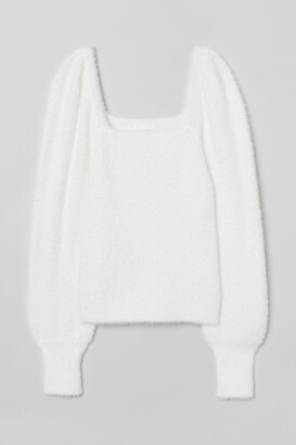 H&M Puff-sleeved Fluffy Sweater