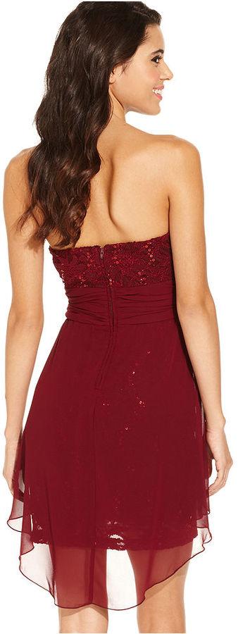 B. Darlin Juniors Dress, Strapless Lace Sequin Sweetheart