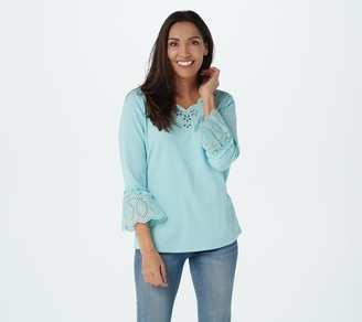 Quacker Factory Eyelet Cutout Bell-Sleeve Lace Knit Top