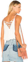 1 STATE Spaghetti Strap Lattice Back Tank in White. - size S (also in XS)