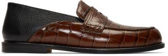 Loewe Brown and Black Croc Slip-On Loafer