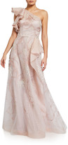 Rickie Freeman For Teri Jon Premier Embroidered Organza One-Shoulder Gown