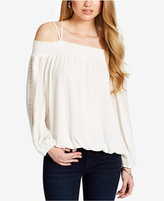 Jessica Simpson Juniors' Lace-Sleeve Cold-Shoulder Top