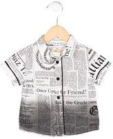 John Galliano Boys' Newspaper Print Button-Up Shirt