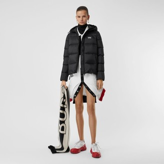 Burberry Monogram Stripe Print Hooded Puffer Jacket