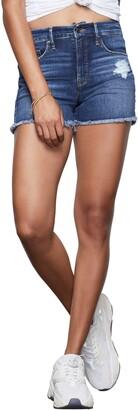 Good American High Waist Distressed Cutoff Denim Shorts