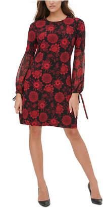 Tommy Hilfiger Chiffon-Sleeve A-Line Dress