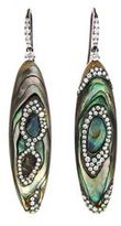 Arunashi Abalone Shell Earrings with Micro Pave Diamonds - Blackened Gold