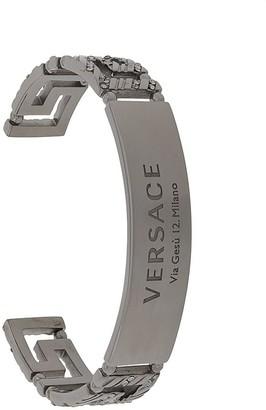 Versace Greca crystal-embellished cuff bracelet