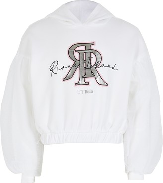 River Island Girls White mesh puff sleeve hoodie