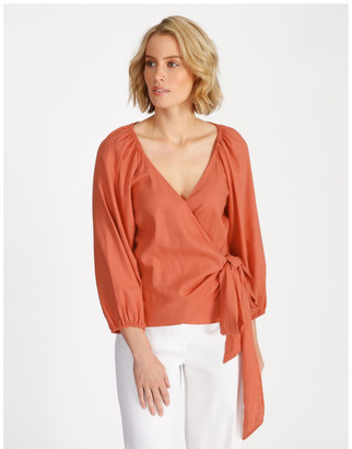 Basque Linen Wrap Top