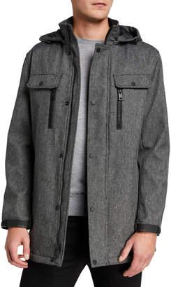 Andrew Marc Men's Doyle Melange Tech Four Pocket Hooded Jacket