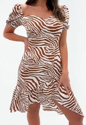 Missguided Petite Cream Zebra Print Asymmetric Midi Dress