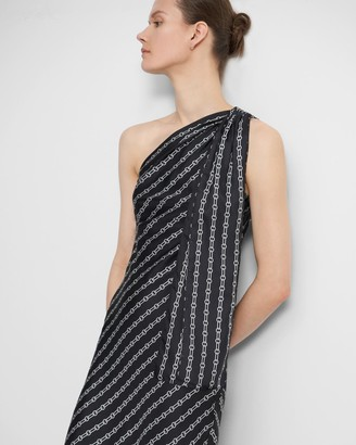 Theory One Shoulder Dress in Chain Print Silk Twill